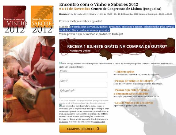 Vinho e Sabores 2012 - receba 1 bilhete grátis