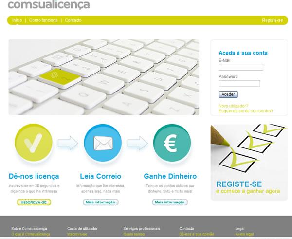 Com Sua Licença renova site: Inscreve-te já para ganhar dinheiro com e-mails