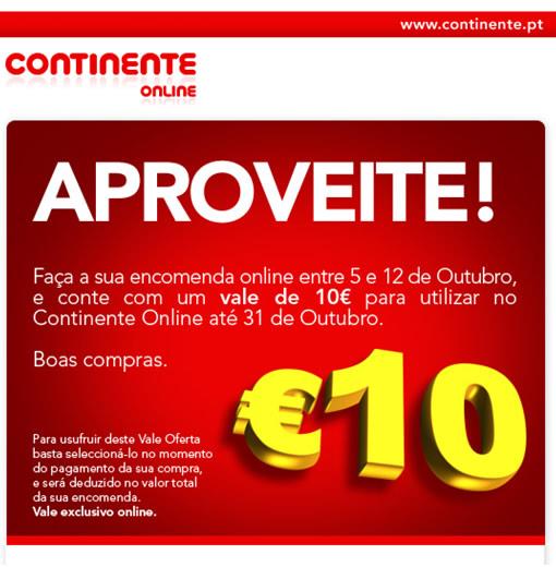 Vale de 10 euros para descontar em compras no site Continente ONLINE