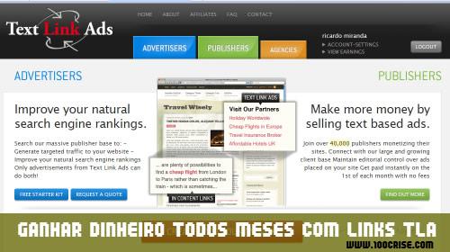 Como ganhar dinheiro na Internet com links da empresa Text Link Ads