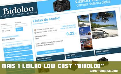 Leilão low cost BIDOLOO : produtos com preço reduzido