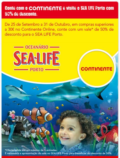 Continente oferece desconto 50% para visitas ao Sea Life Porto