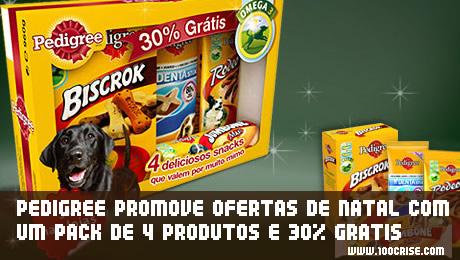 Pack de Natal Snacks Pedigree com oferta de 30% grátis
