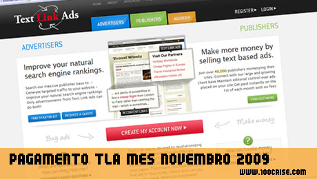 Mês de Novembro: TLA Text Link Ads , mais 30.75 euros