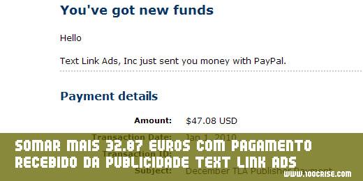 Ganhar dinheiro (+32.87 euros) com publicidade paga pela TLA Text Link Ads