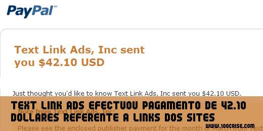 Mais um pagamento da TLA Text Link Ads no valor de 42.10 dollares