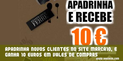 Site Marca10.com : ganha 10 euros em vales de compras por cada afiliado