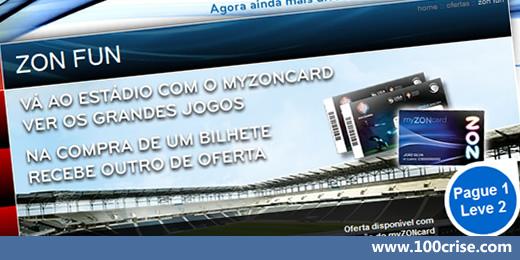 Com o cartão MyZonCard poderás comprar 2 BILHETES FUTEBOL PELO PREÇO DE 1